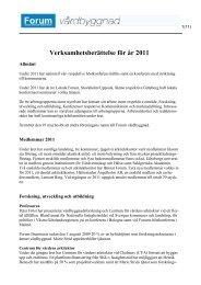 Verksamhetsberättelse för år 2011 - Forum Vårdbyggnad