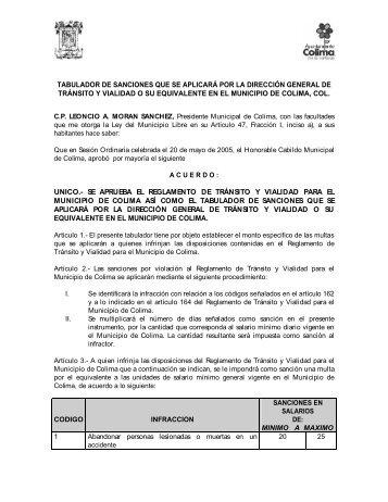 tabulador de sanciones que se aplicará por la dirección general de ...