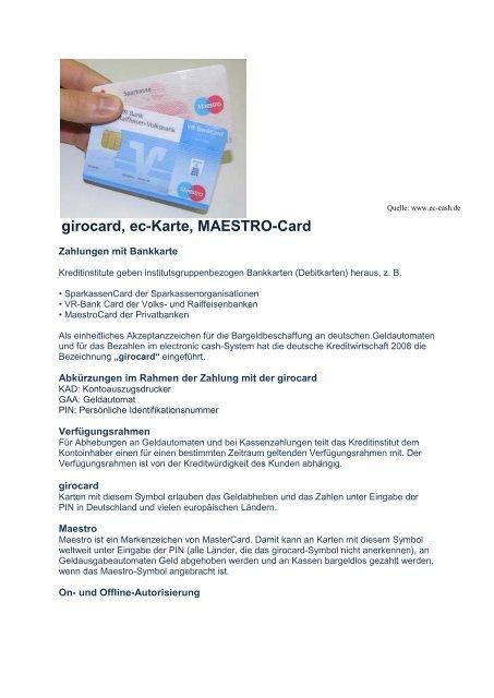Maestro Ec Karte.Girocard Ec Karte Maestro Card Bawiba De