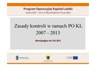 Zasady kontroli w ramach PO KL 2007 - 2013