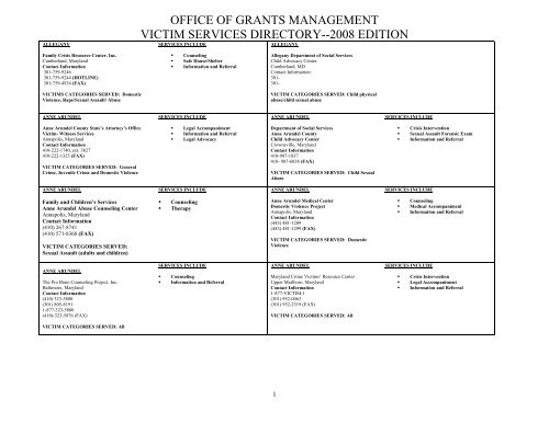 office of grants management victim services directory - Maryland