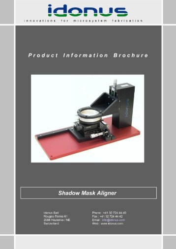 Shadow mask aligner from Idonus - CMI