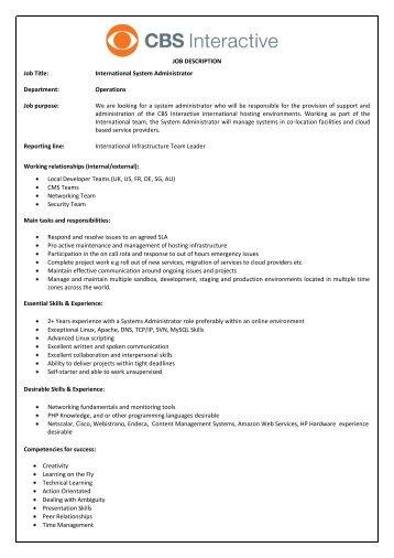 JOB DESCRIPTION Job Title: International System Administrator .
