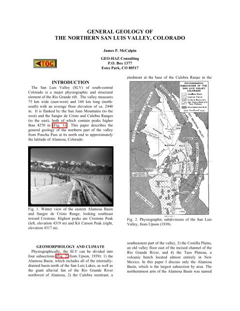 general geology of the northern san luis valley, colorado