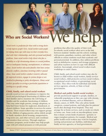 Child, family, and school social workers Medical and public health ...