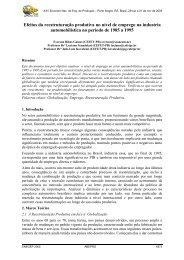 Efeitos da reestruturação produtiva no nível de emprego ... - UTFPR