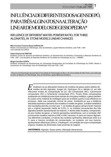 influência de diferentes dosagens de pó, para três alginatos, na ...