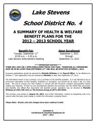 12-13 Benefit Plan Summary Booklet - Lake Stevens School District #4