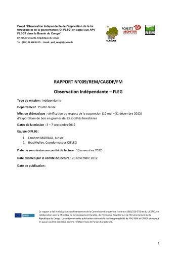RAPPORT N° Observation RAPPORT N°009/REM/CAGDF/FM ...
