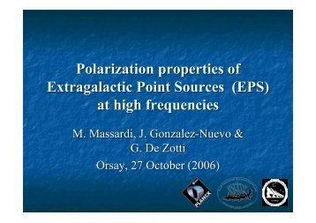 Polarization properties of Extragalactic Point Sources (EPS) at high ...