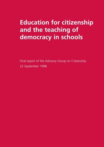 Education for citizenship and the teaching of democracy in schools