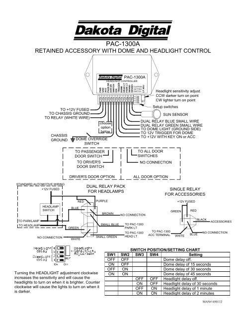 override light sensor wiring diagram pac 1300 dakota digital  pac 1300 dakota digital