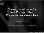 Training Neural Networks with PSO and Other ... - MMCP'2009
