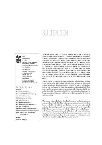 bülten 61 (pdf) - Bilim ve Sanat Vakfı