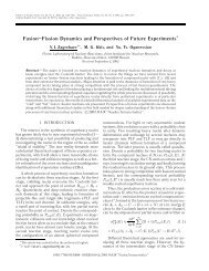 Fusion–Fission Dynamics and Perspectives of Future ... - Nrv Jinr