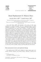 Renal Replacement II: Dialysis Dose