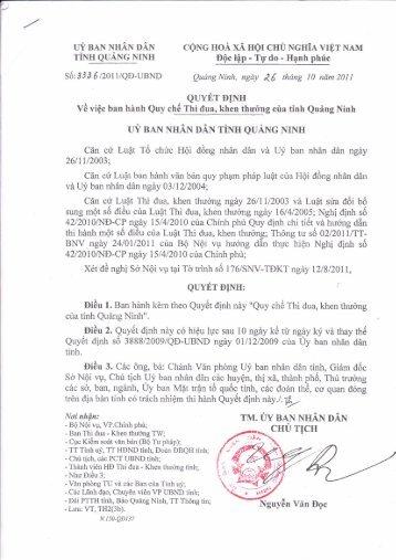 UÝ BAN NHÂN DÂN CỘNG HOÀ XÃ HỘI CHỦ NGHĨA ... - Quảng Ninh