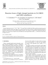 Reaction losses of light charged particles in CsI, BGO and ... - JINR
