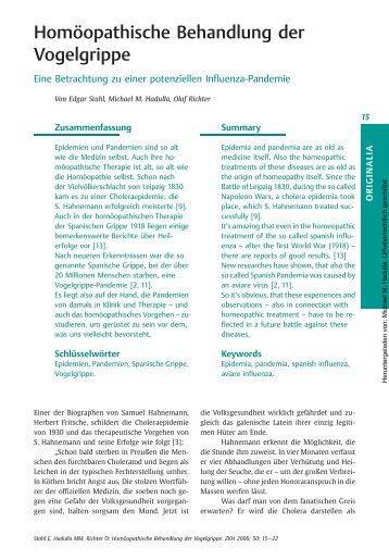 Homöopathische Behandlung der Vogelgrippe Eine Betrachtung zu ...
