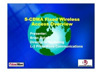 5- S-CDMA FWA Overview - Ministère de la poste et des ...