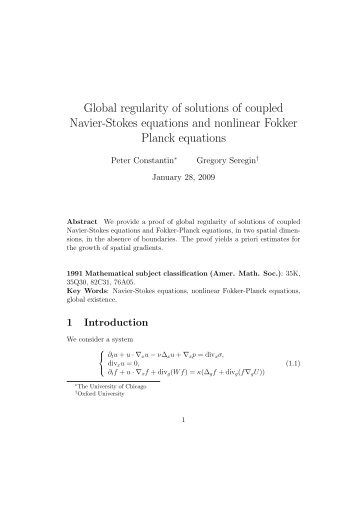 Global regularity of solutions of coupled Navier-Stokes equations ...