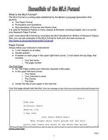 mla college paper format