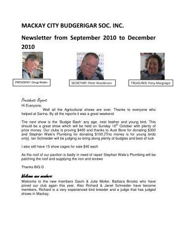 Dec 2010 - Mackay City Budgerigar Society Inc
