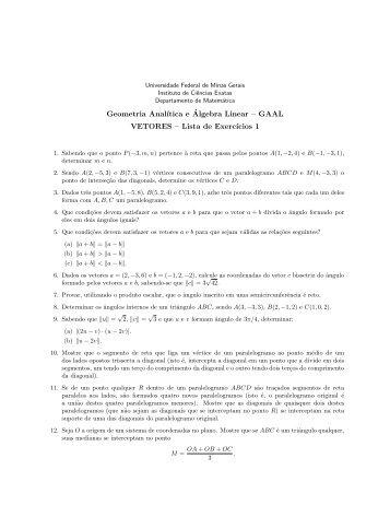 Lista 1 - Departamento de Matemática - Universidade Federal de ...