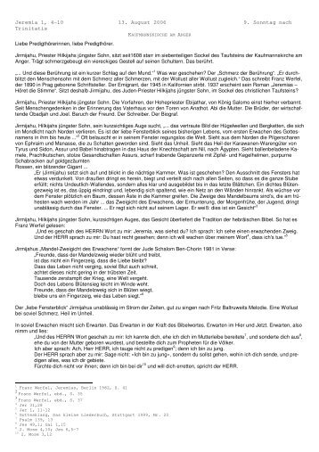 Jeremia 1, 4-10 13. August 2006 9. Sonntag nach Trinitatis Liebe ...