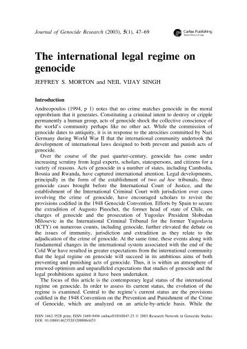 The international legal regime on genocide - Montreal Institute of ...