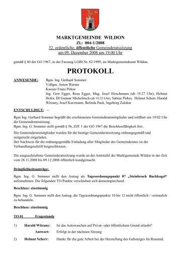 Protokoll der 32. Gemeinderatssitzung - Marktgemeinde Wildon