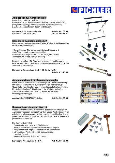 HICKORY Ausbeulhammer Garnitur Satz Schlichthammer Set Ausbeul Werkzeug 7 tlg