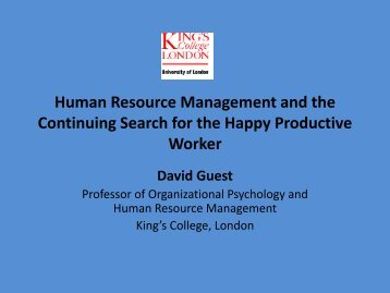 Human Resource Management and the Continuing Search for ... - NIP