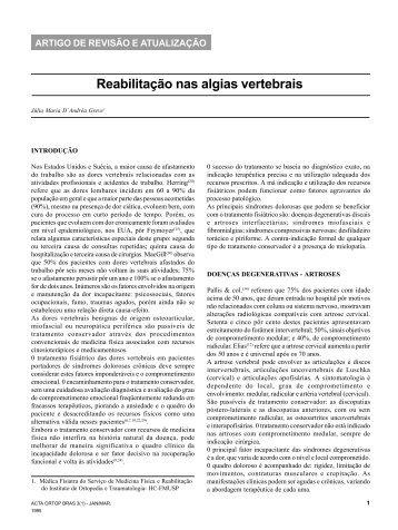 Reabilitação nas algias vertebrais - Portal Saude Brasil . com