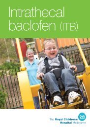 Intrathecal Baclofen Booklet - The Royal Children's Hospital