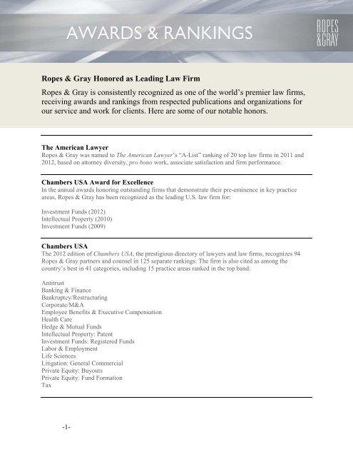 ropes gray rankings awards