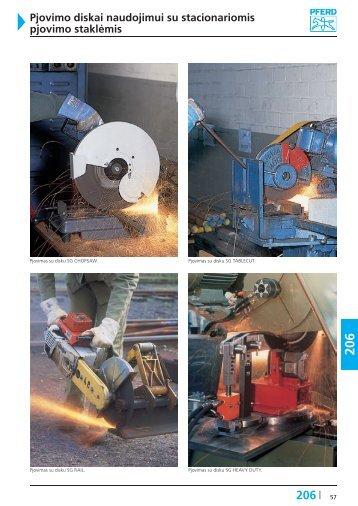 Pjovimo diskai naudojimui su stacionariomis pjovimo staklėmis