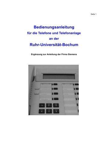 Bedienungsanleitung ISDN (pdf) - Ruhr-Universität Bochum