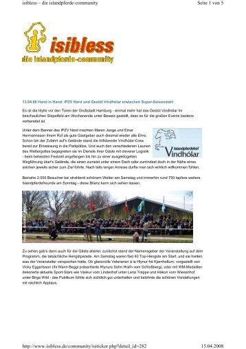 Turnierbericht mit weiteren Fotos von Isibless zum Download als pdf ...