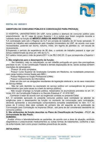 EDITAL HU 002/2011 ABERTURA DE CONCURSO PÚBLICO E ...