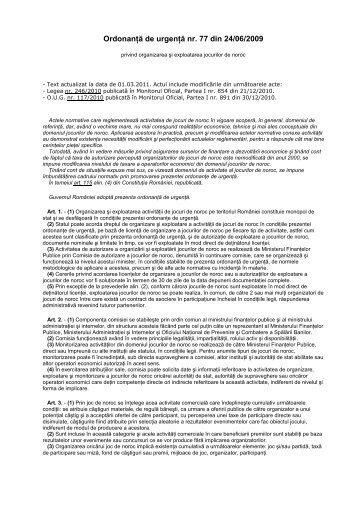 OUG 77_2009 privind organizarea si exploatarea jocurilor de noroc ...