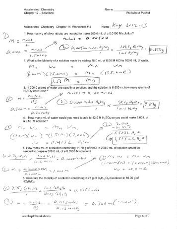 Printables Parts Per Million Problems Worksheet worksheet 5 solutions electrolytes and concentration the name accelerated chemistry chapter 12 worksheet