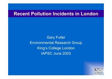 Recent Pollution Incidents in London - IAPSC