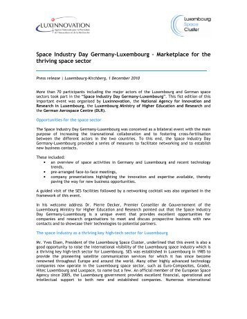 Space Industry Day Germany-Luxembourg – Marketplace for the ...