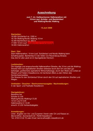 Ausschreibung - BLV-Kreis-Pforzheim