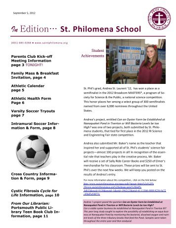In Edition… St. Philomena School - Saint Philomena School