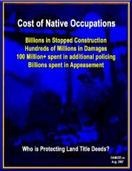 Cost of Native Occupations - Caledonia Wake Up Call