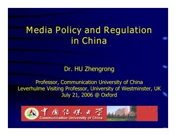 Media Policy and Regulation in China - Center for Global ...