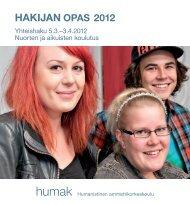 Lataa hakijan opas 2012 - Humanistinen ammattikorkeakoulu