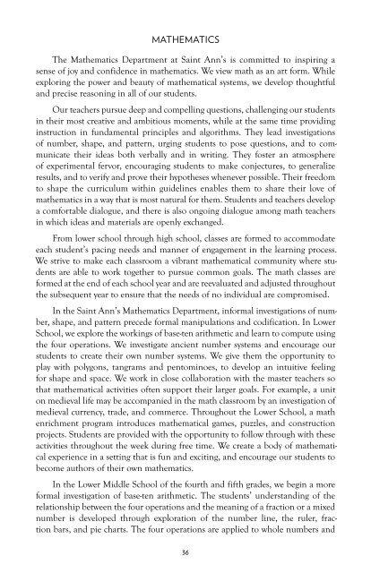 Saint Ann's School Curriculum - An Overview